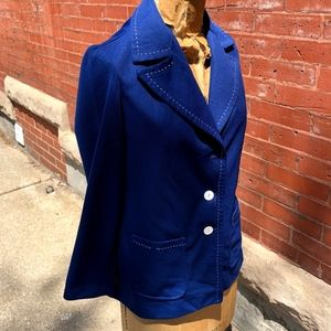 Jackets & Blazers - Vintage Navy Blue Light Jacket w/ White Threading